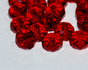 20pcs  6x4mm Transparent Red Faceted Rondelle Crystals