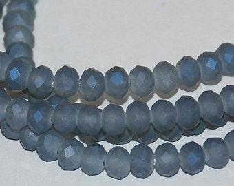25 pcs 4x3mm Frost Dark Grey with Cobalt Blue Highlights Faceted Rondelle Glass Beads