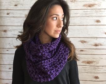 Vibrant Purple Infinity Scarf, Purple Textured Cowl Neck Cozy, Circle Scarf, Crochet Purple Cowl