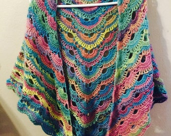 Crochet virus shawl