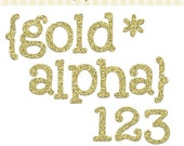 70% OFF SALE - Gold Glitter Alphabet, glitter alpha clip art images, commercial use- Instant Download