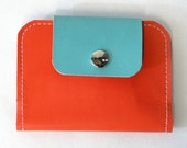 Rosie Upcycled Leather Wallet, leather billfold in orange and turquoise.