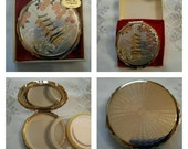 ON SALE- EISHO Oriental Compact Featuring A Chokin Art Design Of A Pagoda And Cherry Blossoms circa 1960-1980   DR188