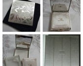ON SALE- Zell 5th Ave Silver Tone Compact Featuring An Etched Floral Motif circa 1950's-1960's- DR112