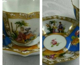 Hand Painted Quatrefoil Dresden (Germany) Demi cup & saucer By C. Thieme circa 1891-1901    #DSC