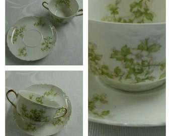 ON SALE- Limoges Bouillon cup & saucer by Haviland called The Montebello circa 1884-1931-  170