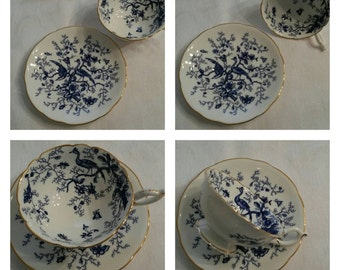 "White/Blue Coalport cup & saucer in the ""Cairo"" pattern circa 1949-1959   DR"