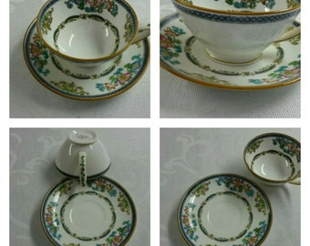 Minton Tea Cup and Saucer; Small; Hand Painted  circa 1912-1950-  639