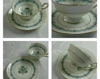 ON SALE- Hand Painted Coalport Cup & Saucer Titled Geneva circa 1949-1959  -416