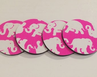 Coasters made with Lilly Pulitzer fabric Pink Tusk In Sun