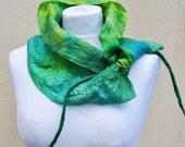 Felted scarf, silk, wool, nuno, felted, gift, fibre art, green