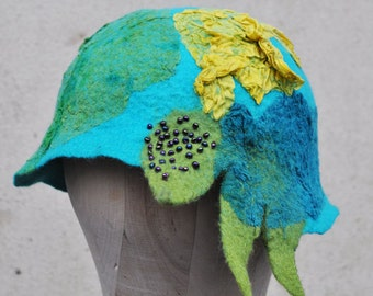 SALE - Felted hat, cap, wool, felting, yellow, turquoise, green, silk, beads