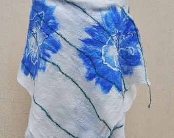 SALE - Beautiful shawl, felted scarf, silk, wool, felted, gift, fiber art, blue, green, white