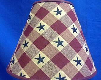 Berry Check Homespun with Navy Stars Lamp Shade