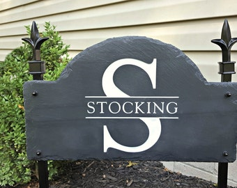MONOGRAM SLATE Sign Lawn Stake / CARVED Arched / /House Post #E-5E