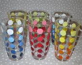 Vintage NOS Drinking Glasses Dots Bright Red Blue Green Yellow Rainbow - Set of 6