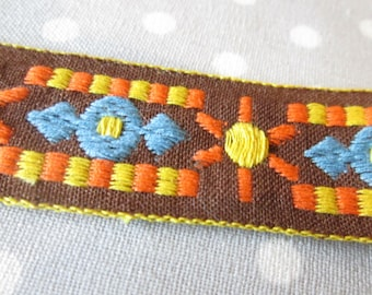 "1970s Vintage Embroidered Ribbon - 15 yards - 7/8"" wide Brown Orange Yellow Gold Blue - Destash"