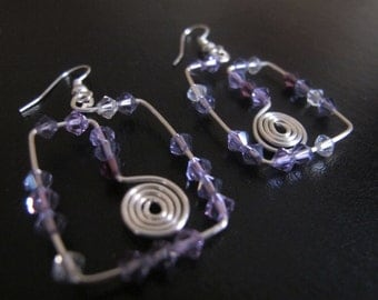 Silver wire wrapped earrings square with spirals and purple crystals