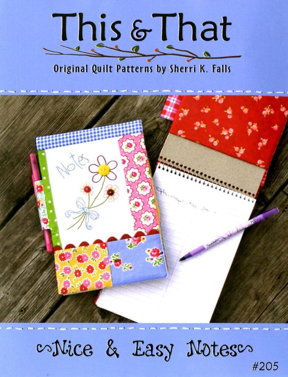 Notebook Cover Sewing Pattern ~ Nice and easy notes sewing pattern notebook cover