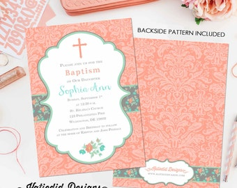 christening invitation baby girl shower floral mormon lds baptism christening baby sprinkle couple diaper (item 704) shabby chic invitations