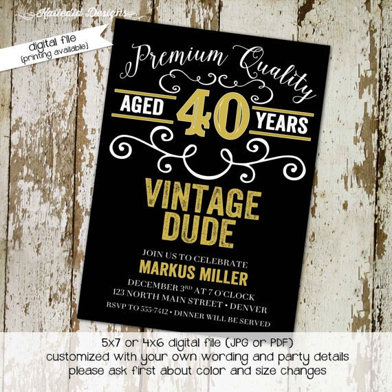 vintage dude birthday invitation beer mug poker couples chalkboard vintage shower gender reveal bash (item 274) shabby chic invitations