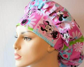 Scrub Hats Minnie Mouse and Daisies Patchwork Womens Bouffant Scrub Hat