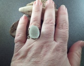 Large Scottish Sea Glass Ring, Gold Tone Adjustable Band, Aqua Beach Glass Jewelry from Scotland in Seafoam and Gold, Beach Gift