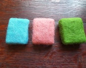 Felted Soap, Scottish Soap Set, Scottish Bath Gift, Turquoise Blue Lime Green Pink Bath Soap, Gift from Scotland, Handmade Soap, Natural