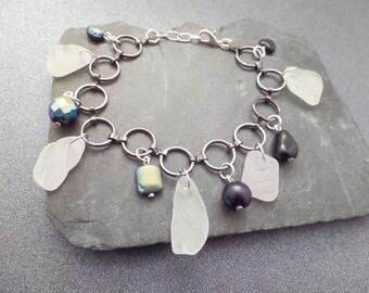 Scottish Sea Glass Charm Bracelet with White Scottish Sea Glass and Black Beads, Black and White Charm Bracelet, Scottish Jewelry, Beach