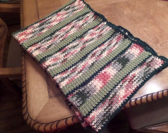 Green and Pink Crocheted Lap Blanket, Small Sofa Throw, Buy One Donate One