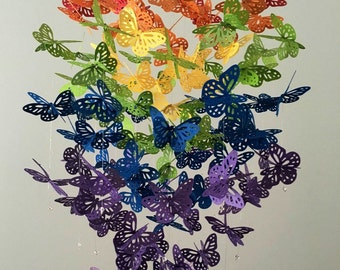 Under the Rainbow -Monarch Butterfly Chandelier Mobile - girl room mobile, nursery mobile, baby girl mobile, photo prop, 3D mobile,