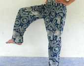 green and white  elephants rayon harem pants , size S-XL,trouser ,unisex pants,bohemain,yoga,spa pants,baggy pants ,gypsy ,jumpsuit