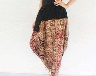 brown peacock harem pants  Indian shawl fabric ,yoga,spa,hippie, bohemian,  size S-L,unisex pants.
