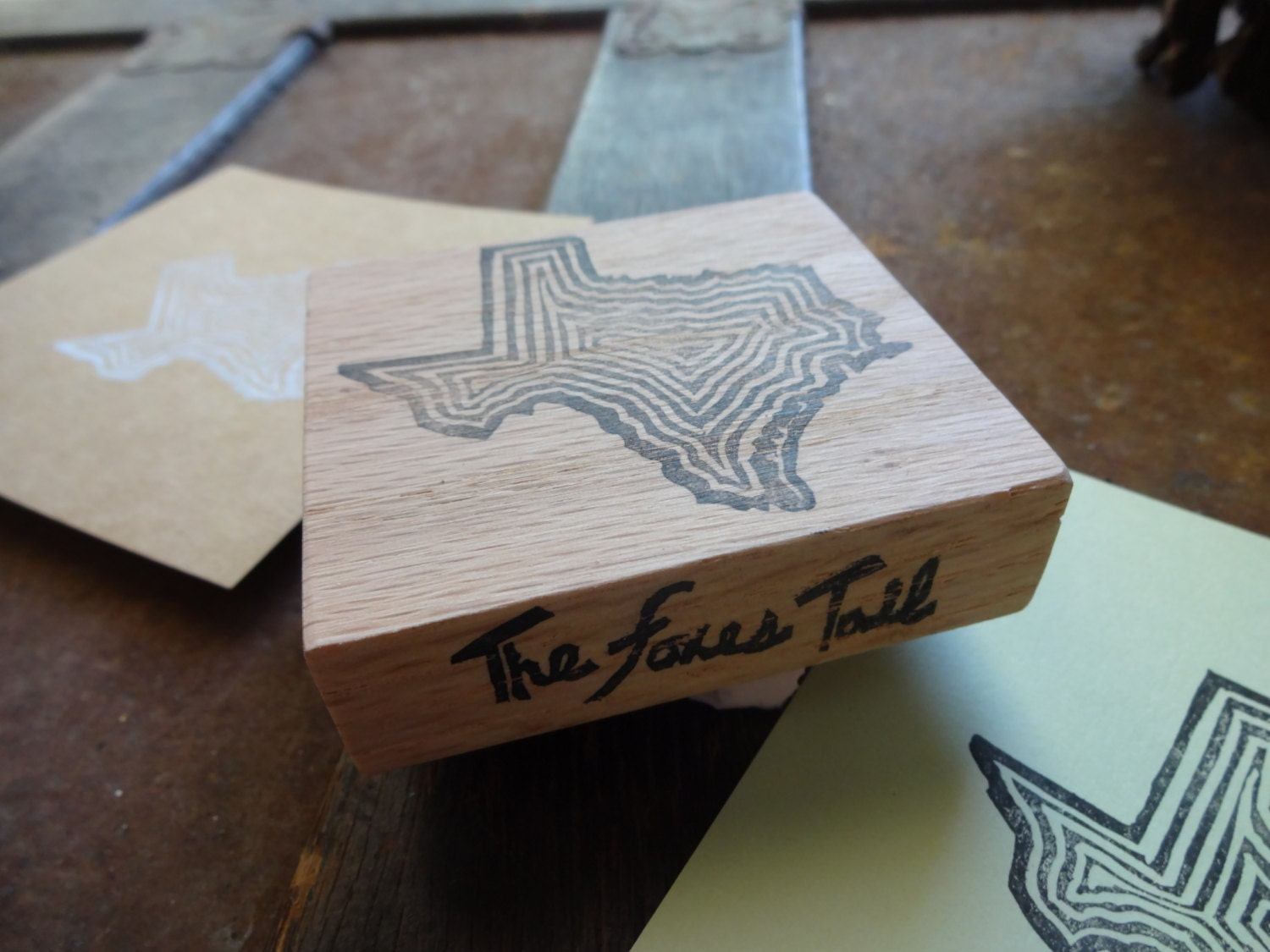 The great state of texas hand carved rubber stamp