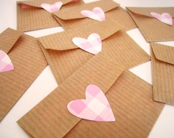 Mini Kraft Envelopes & Cards - Set of 10 - Recycled Kraft Paper