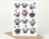 Pug Birthday Card (pug card, black pug card, pug love, card for pug lover, pug congratulations card, cute dog card, dog lover card)