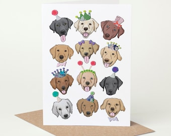 Labrador Dog Birthday Card (dog celebration card, dog congratulations card, black, chocolate, yellow, fox red, champagne, silver, charcoal)