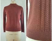 80s Sweater / Soft Brown Cable Knit Sweater / Rust / Fall Sweater / Mock Turtleneck / Cozy Sweater / Small Medium