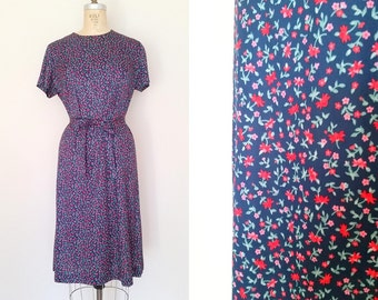 Vintage 1960s Dress / Blue Country Floral / Day Dress / Medium Large