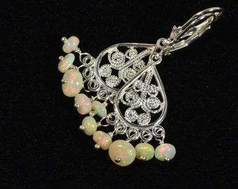 Ethiopian Opal Earrings Filigree Victorian Earrings  Gemstone Earrings Sterling Silver Earrings