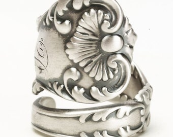 Antique Spoon Ring, Victorian Ring, Sterling Silver Spoon Ring, 1895 Neapolitan, Vintage Shell Ring, Silver Thumb Ring, Adjustable Ring 5848