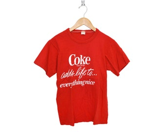 """Vintage Coca-Cola 100% Cotton Coke """"adds life to... everything nice"""" Bright Red Crewneck T-Shirt, Made in USA"""