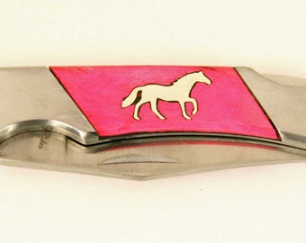 Rough Rider Pink Bone Pocket knife with Sterling Silver Horse inlay