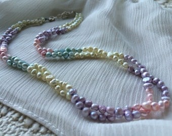 Freshwater Pearl Roped Necklace / Bridal Jewelry / Pastel Pearls / Two Strand Pearl Necklace
