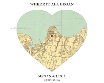 Wedding Map Gift, Personalized Wedding Gift for Couple, Heart Map Art Print Wedding Decor, Unique Husband Gift, Map Heart Where it All Began