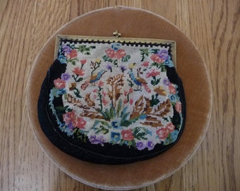 Vintage antique Flowers and Birds Needlepoint  Purse Handbag with gold frame clutch