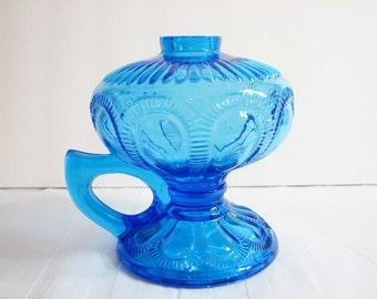 Vintage Imperial Glass Blue ZIPPER LOOP Kerosene Oil Lamp Base ... Hand / Finger / Chamber Lamp ... Art Glass Lantern