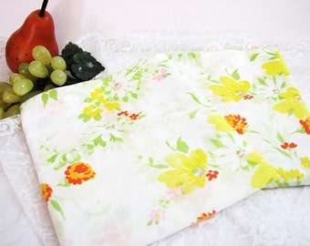 Vintage Floral Percale Pillowcases, Standard or Queen Size, Pair, Set of 2 ... Retro Floral ... Orange, Yellow, Pink on White