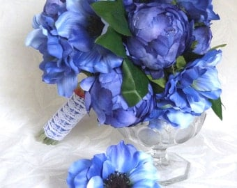 Blue Anemone and peony bouquet and boutonniere set