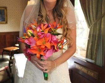 Reserved Tropical wedding bouquet orange fuchsia pink tropical bouquet
